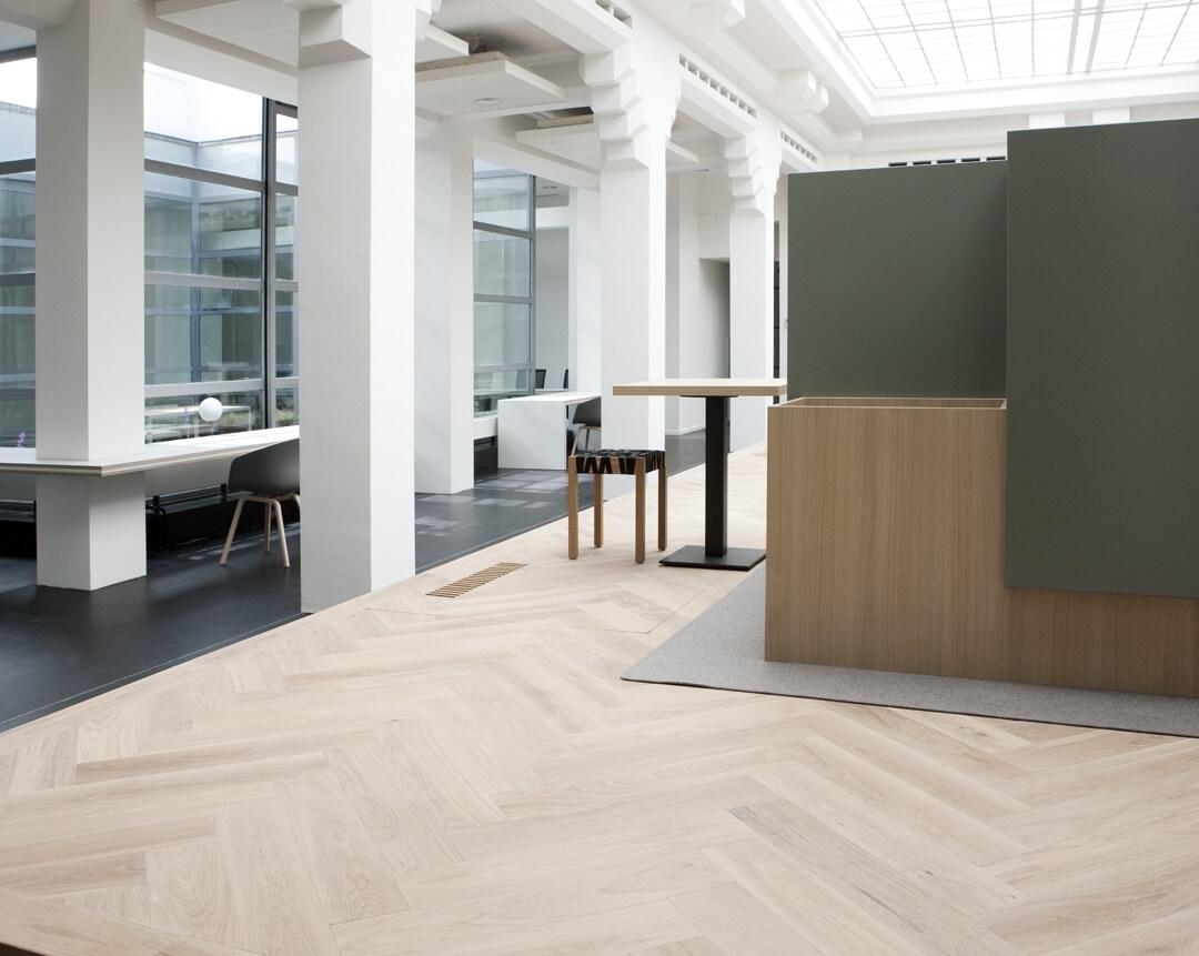 Herringbone wood floor in office the Hague