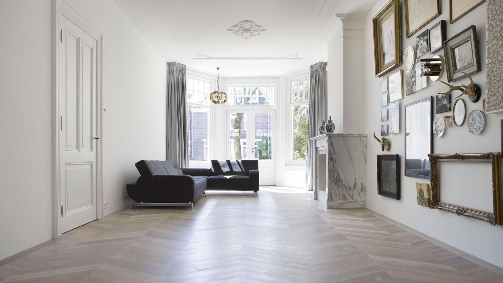 a classical chevron floor with a modern twist
