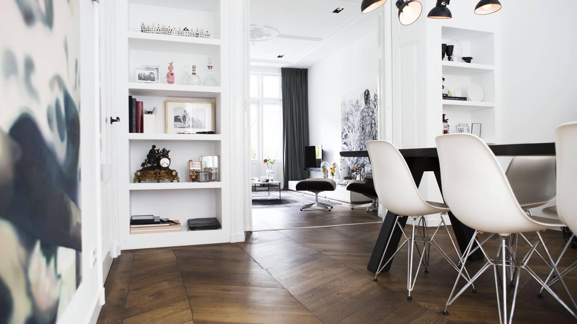 brown herringbone livingroom