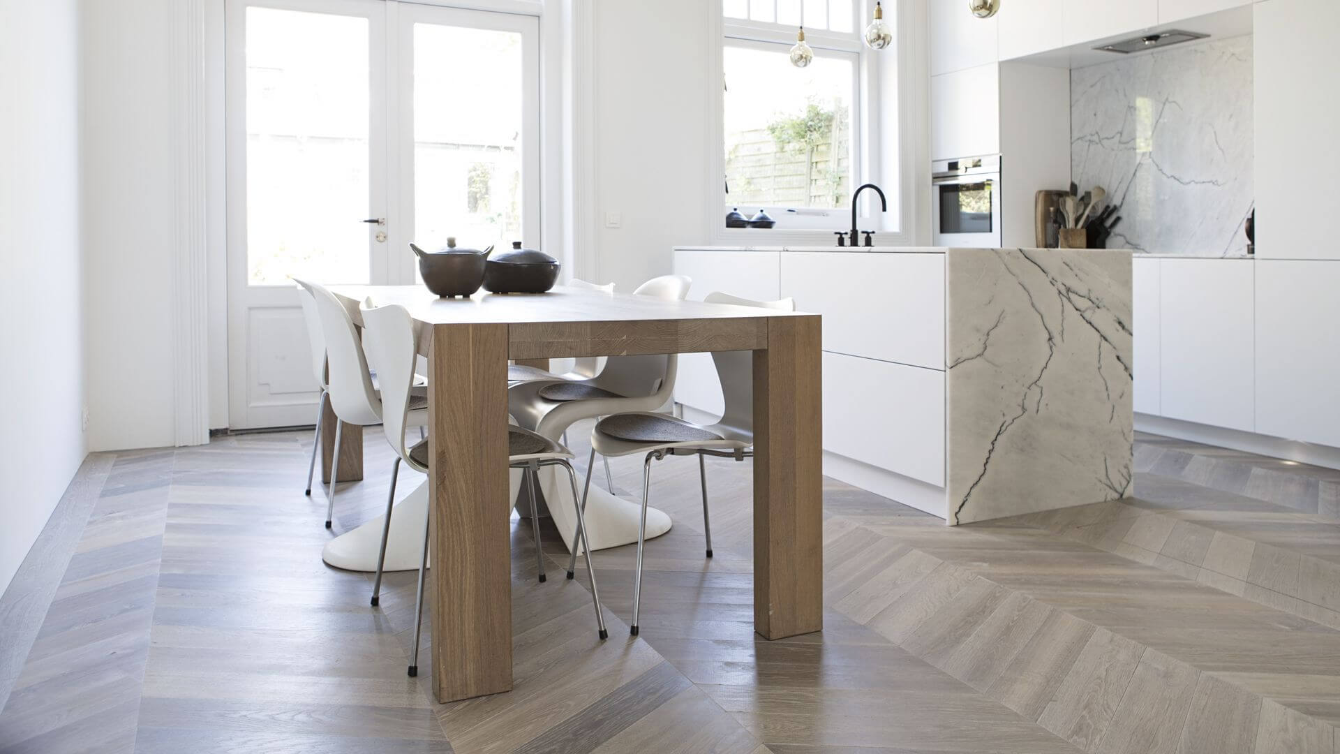 chevron floor in the kitchen
