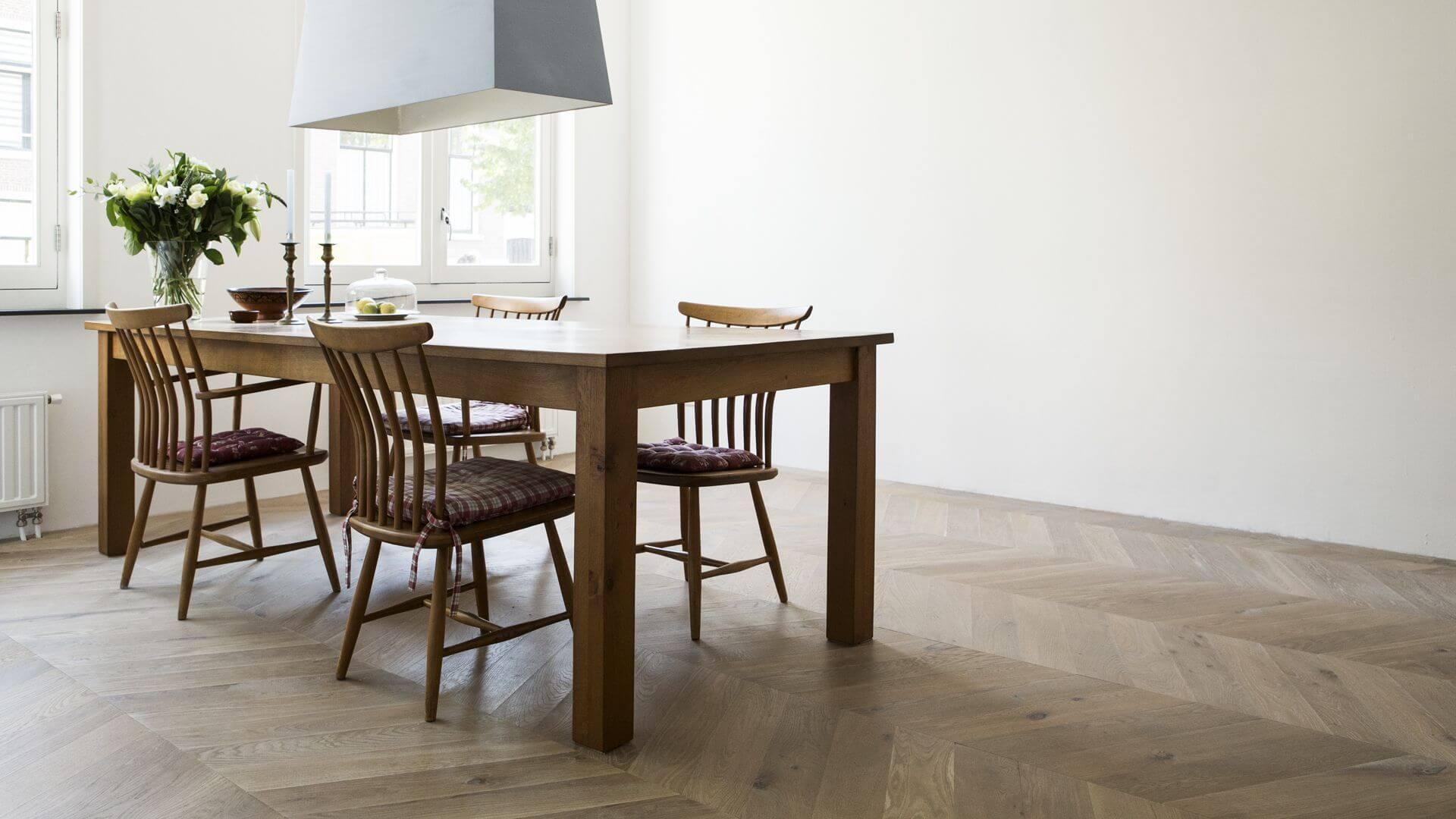 chevron wood flooring in the kitchen