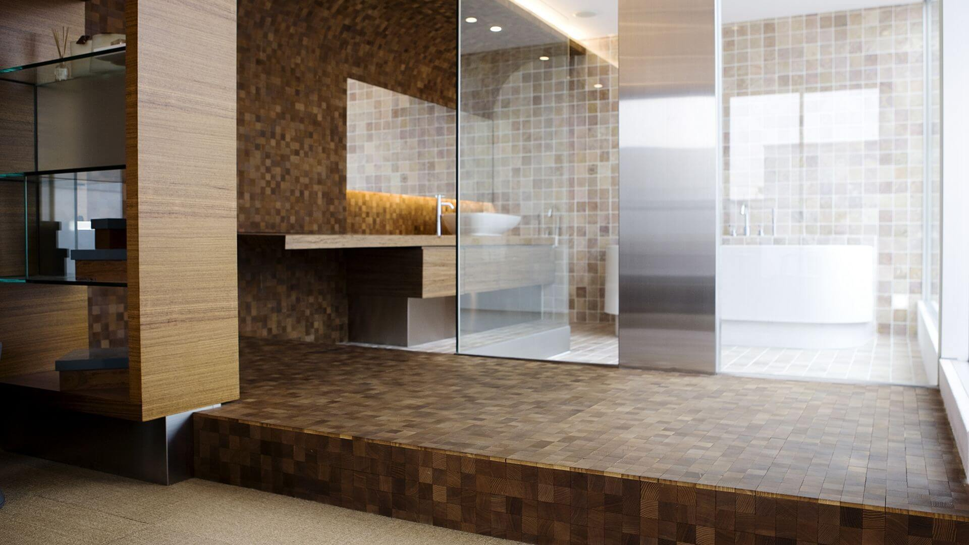 end grain wood flooring in the bathroom