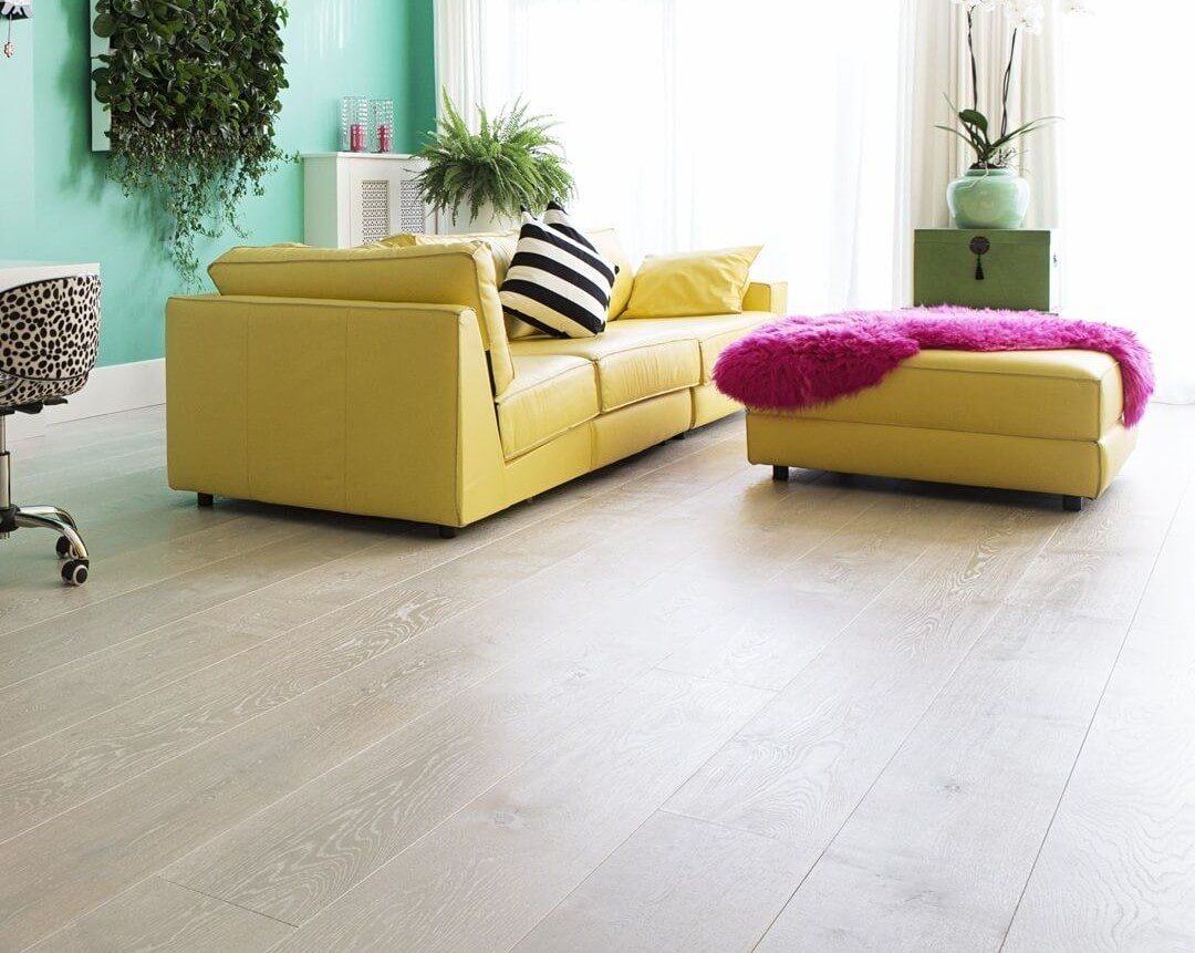 Engineered Oak Floor Straight Pattern Pearl White