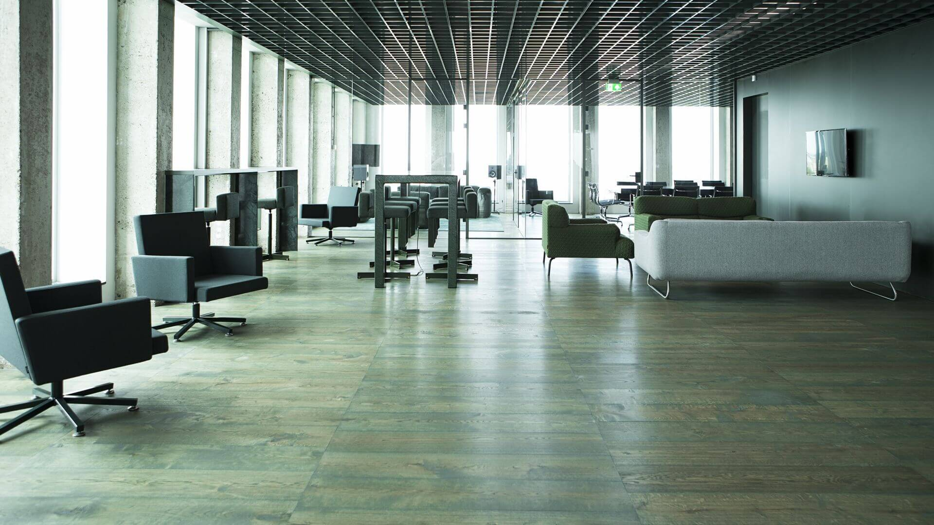 Green Ladder Pattern Office Floor