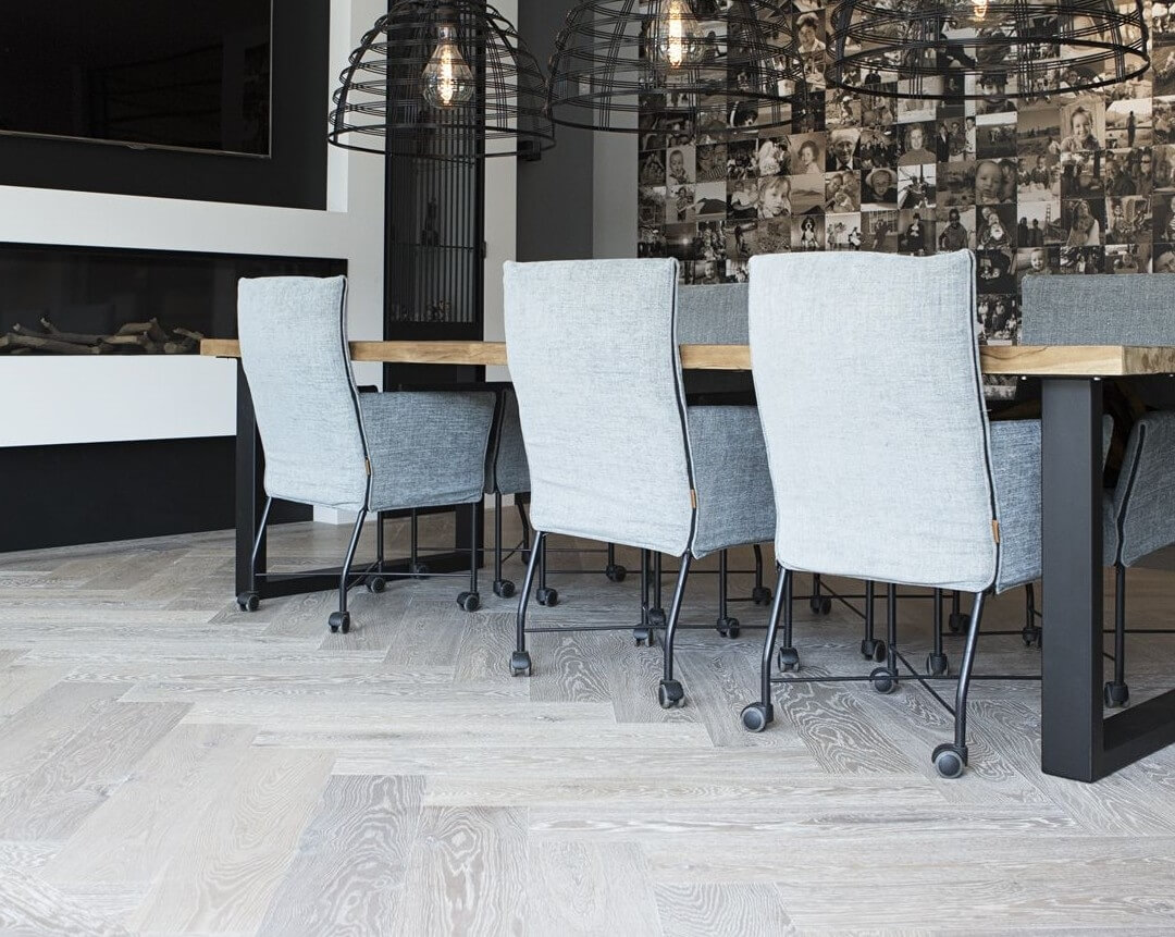 Herringbone pattern engineered wood flooring noble grey