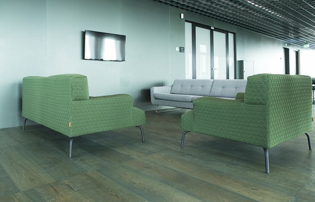 Green furniture with green wood floor