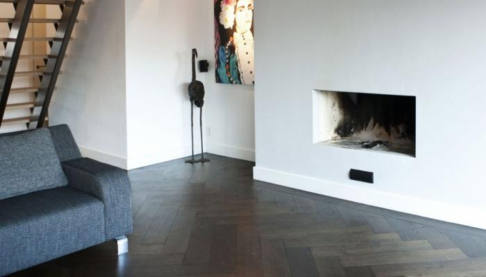 herringbone wood floor livingroom