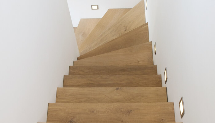 L shaped staircase with wooden steps