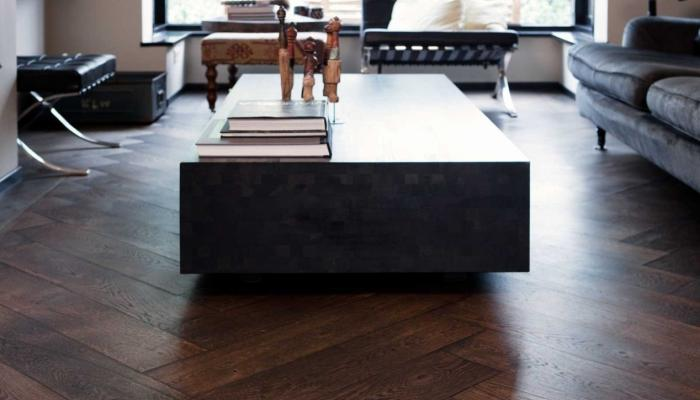 dark herringbone wooden floor