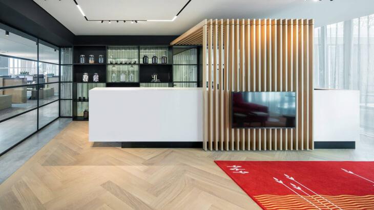 colorful herringbone office floor