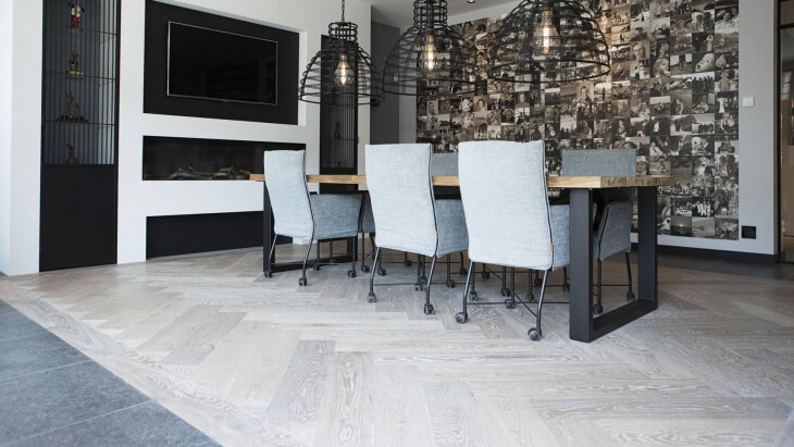 large oak herringbone floor