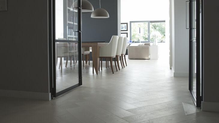 white oak herringbone floor