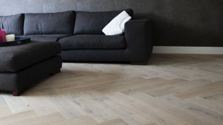 herringbone floor with underfloor heating